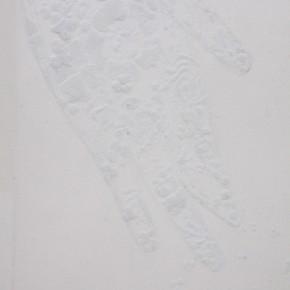 32 OHMAKI SHINJI- Echoes-Crystallization, 2007; Waston paper, correction fluid, natural crystal, 67.5×36.3×4cm