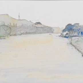 44 SATO ICHIRO- West Lake of Hangzhou-Autumn Moon over the Calm Lake, 2007; pencil and transparent watercolor on Denise watercolor paper, 22.5×30.5cm