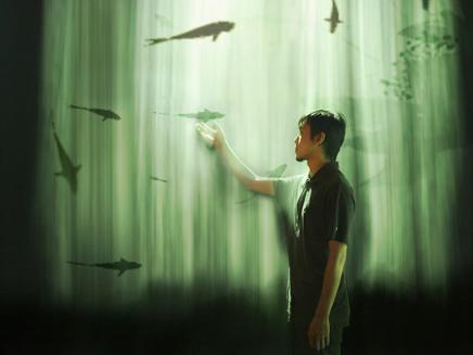 Fog-screen interactive installation/ Dimensions variable, 2008; Ya-lun TAO, Fu-jui WANG; Animation