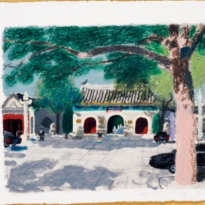 Wang Yuping-Gate of White Cloud Temple; acrylic and pastels on paper, 68cm×58cm
