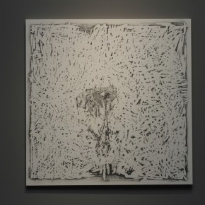 Work 001 MIIDA SEIICHIRO-A plate, 2009; woodblock, sam paper, cinnabar and graphite, 60×60cm