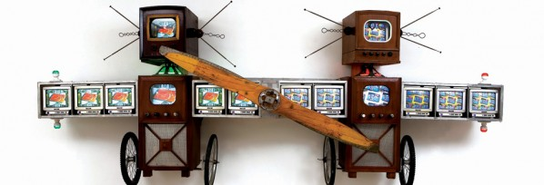 Wright Brothers - Nam June Paik/ Mixed media, 173 x 403 x 56 cm, 1995