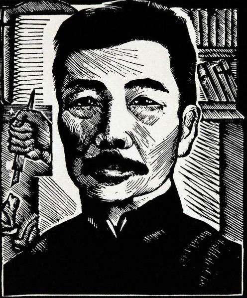 """Lu Xun"", woodcut by Li Qun"