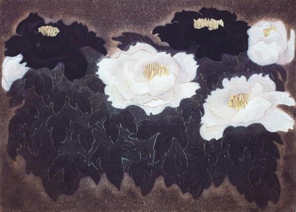 Zheng Shuang-Black and White Peonies, 1984; woodcut, 74x56cm