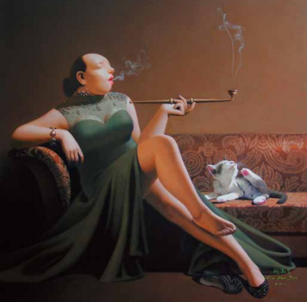 Liu Baojun-Pipe-Smoking Woman, No. 109, 2011; oil on canvas, 70X70cm