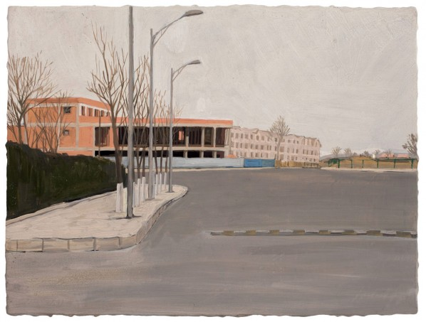 Liu Xiaohui-The Winter of Circular Railway, 2011; tempera on wood, 30x40cm