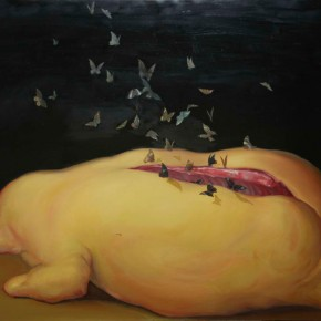 Qin Guanwei-The Funeral III; oil on canvas, 150×110cm