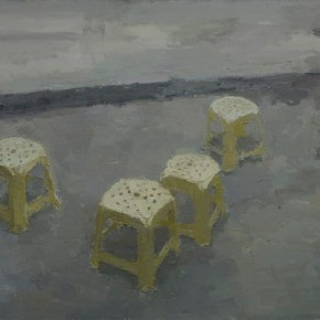 Sun-Xun-Yellow-Plastic-Stools,-2011;-Mix-Media,-200x300cm