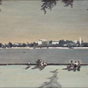 Wang Qing-Watching the Views of City Across the River, 2003; oil on paper, 35×50cm