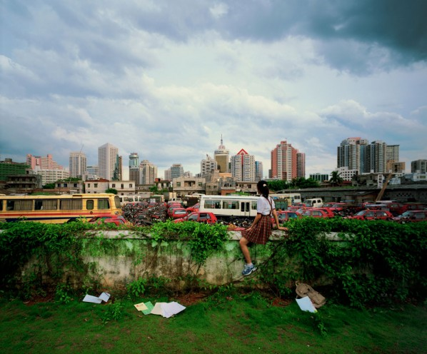 """02 Weng Fen, Haikou, from the """"Sitting on the Wall"""" series, 2002, Digital chromogenic print, 15 1/2 x 18 3/4 in"""