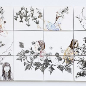 Cai Yuan-There are flowers here. 2012; black and white handmade enlarge photo paper, 140×93cm