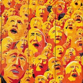 Fang Lijun, 2003.2.1; oil on canvas, 400×852cm