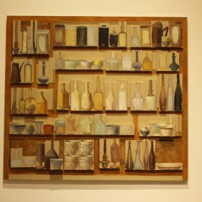 Dong Yuan-Giorgio Morandi's Bottles(composed of 80 pieces), 2009; oil on canvas, 160X178.5cm