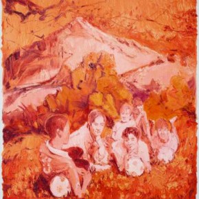 Chen Ke, Red-Saced Mountain No.11, 2011; oil on canvas, 200×160cm