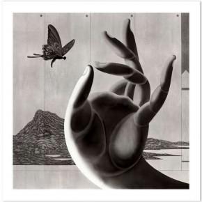 Chen Qi, Buddha's Hand, 2003; water print, 720 X720cm