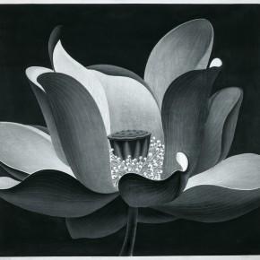 Chen Qi, Lotus Dance, 1999; water print, 147X147cm