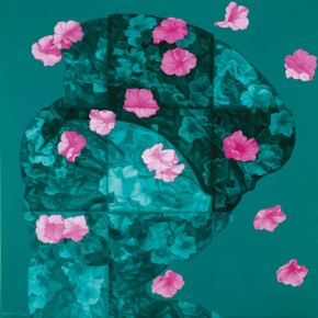 Feng Zhengjie, Floating Floras Series - Lattice Portrait No.08, 2011; Oil on Canvas, 160x160cm