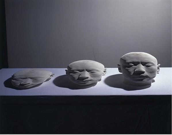 Li Hongjun, Drift Away, 2009; Paper, 8 x 36 x 45 cm, 17 x 36 x 45 cm, 25 x 36 x 45 cm