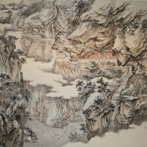 Shi Chenxi(School of Chinese Painting), Asgard in Dolomite, 2012; ink and color on paper, 245×235cm