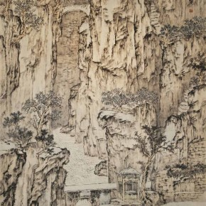 Shi Chenxi(School of Chinese Painting), Caine Clouds Crossing Tiger Hill, 2012; ink and color and paper, 240×124cm