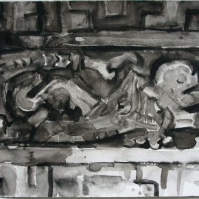 Shi Zhiying, Palomar--Serpents and Skulls, 2011-2012; Watercolor and ink on paper, 41×31cm