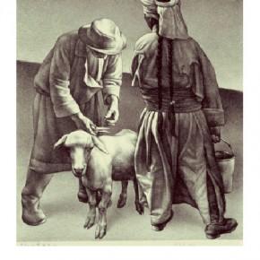 Su Xinping, Sheepshearing No.1 3/10, 1988; lithograph, 59.5×49cm