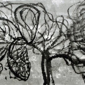 Wang Chunjie, Body Network No. 3, 2010; ink on paper, 144x367cm