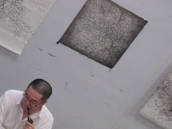 Wang Huangsheng thought about his Moving Visions Series at his studio.