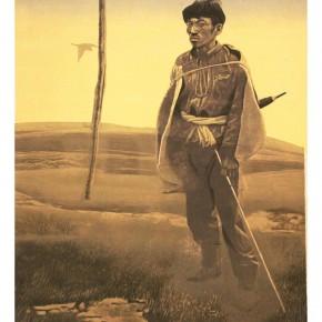 Wang Huaxiang, The Herd, 1988; colored woodcut, 52×43cm