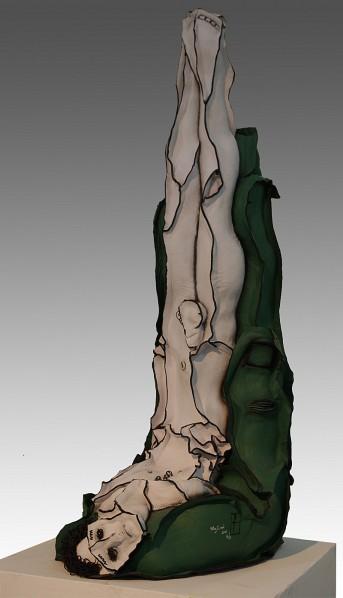 Wang Liwei, The Green Suffering No. 1, 2010; Leather, 95 x 35 x 45 cm