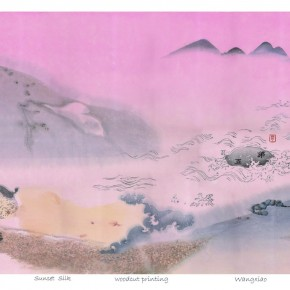 Wang Xiao(Department of Printmaking), Sunset Silk, 2012; Instructor: Su Xinping and Zhang Ye, woodcut printing, 80cm×60cm