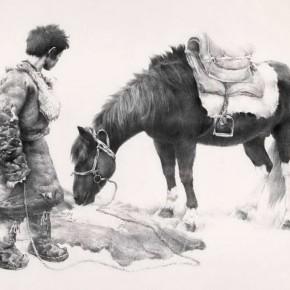 Wu Changjiang, Feeding Horse, 1982; lithograph, 64×83cm