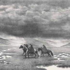 Wu Changjiang, The Shower, 1993; lithograph, 56cm×76cm