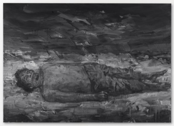 Yan Pei-Ming, Gadhafi's Corpse – October 20th 2011, 2011; Oil on canvas, 110 1/4 x 157 1/2 inches (280 x 400 cm)
