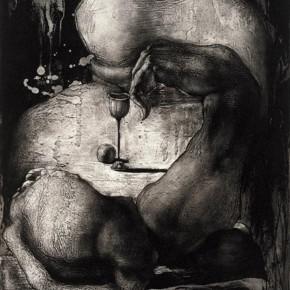 04 Go Sleeping, Artist: Qin Guanwei, 2007; Copper Etching, 87.5×51cm