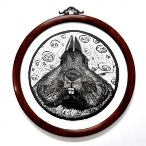 06 Bucktooth Rabbit, Artist: Luo Zhixia, 2012; Woodcut, 29×29 cm