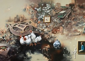 04. Zhong Biao, All has been in existence , shown when it passes, 2012; oil painting, 1200×400cm