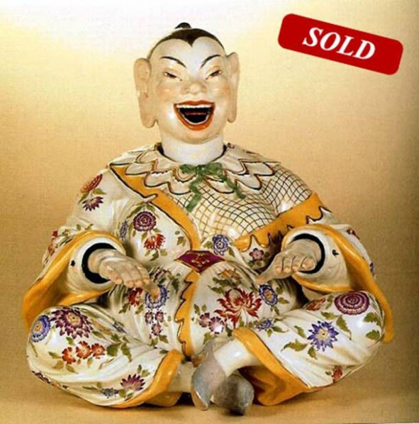 Figure 2. German Meissen porcelain factory designed and produced a series of Chinese human sculptures, among which Pagoda--deformation of the Cloth Bag Monk, 18th century