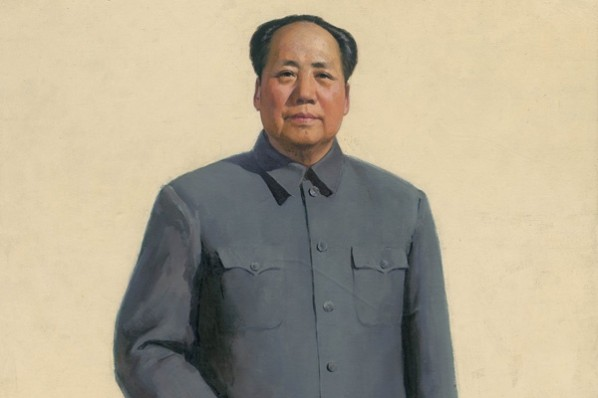 Jin Shangyi, Portrait of Chairman Mao (detail 02), 1966; oil on canvas, 262×137cm