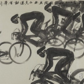 03 Competing to be the First, Artist: Feng Yuan; Chinese Painting, 172cm×94cm