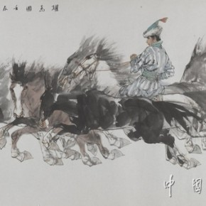 05 Drawing of Training Horses, Artist: Liu Dawei; Chinese Painting, 177cm×96cm