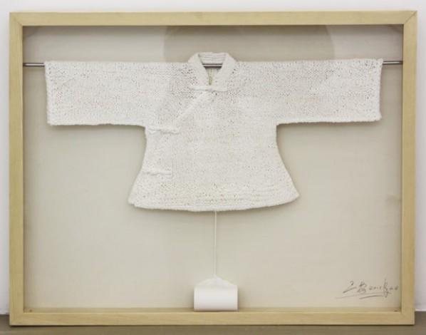 Wang Lei, Hand- Woven Toilet Paper – Children's Clothes, 2012; toilet paper, 85 x 65 x 10 cm