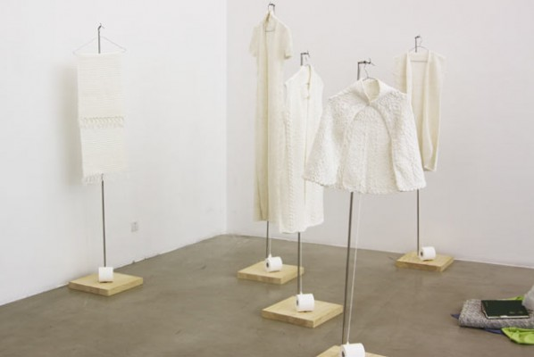 Wang Lei, Hand-Woven Toilet Paper (including 5 pieces), 2012; toilet paper, Dimensions variable