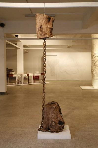 Ye Sen, Analysis 5, 2012; Jichimu wood, 42 x 42 x 350 cm
