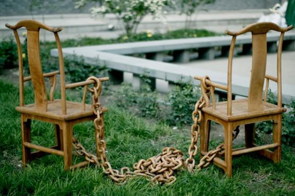 Ye Sen, Pair of Chairs, 2012; Jichimu wood, 110 x 80 x 20 cm