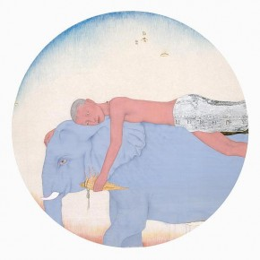 03 Zhu Zhengming, Boy on Elephant; mixed media on silk, 88X88cm