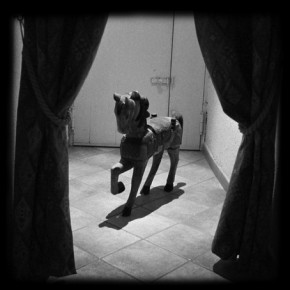 12 Photographic Diary-Wooden Horse, 2004; b/w photograph, 100×100cm