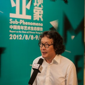 18 Xu Bing was interviewed at the opening ceremony of The First CAFAM• Future Exhibition--Sub-Phenomena Report on the State of Chinese Young Art