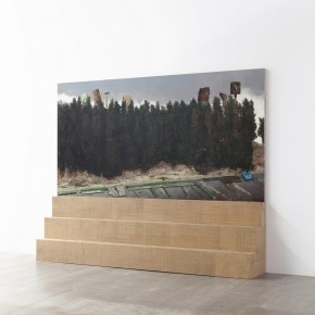 9. Li Dafang,_Nali Board Road(left), 2012; oil on canvas, painted wood, 230 x 285 x 50 cm