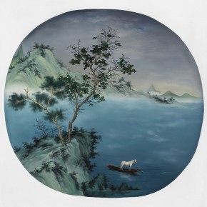 Guo Wen --Boating in Autumn; Oil on canvas, 120x120cm